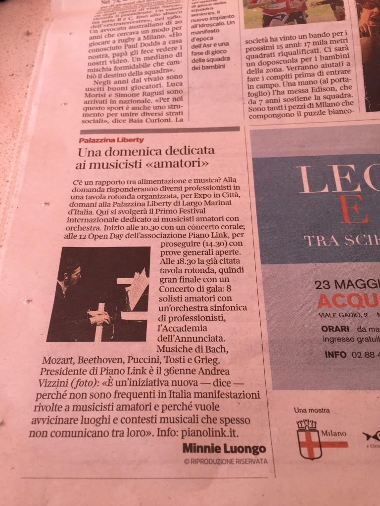 Corriere della Sera July 4th 2015 PianoLink Miamor